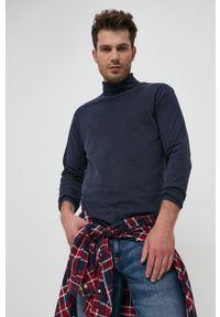 Jack & Jones - Longsleeve bawełniany. Okazja: na co dzień. Typ kołnierza: golf. Kolor: niebieski. Materiał: bawełna. Długość rękawa: długi rękaw. Wzór: gładki. Styl: casual