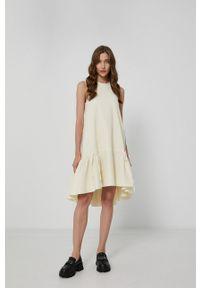 Victoria Victoria Beckham - Sukienka. Kolor: beżowy. Materiał: materiał