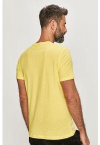 Żółty t-shirt Karl Lagerfeld z aplikacjami, casualowy, na co dzień