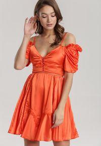 Renee - Koralowa Sukienka Silkport. Kolor: pomarańczowy