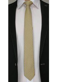 Krawat Męski w Kratkę, Kwadraty, Figury Geometryczne - 6 cm - Alties, Złoty. Kolor: złoty, żółty, wielokolorowy. Materiał: tkanina. Wzór: grochy. Styl: wizytowy, klasyczny, elegancki