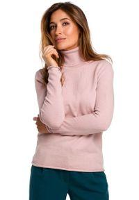 Różowy długi sweter MOE klasyczny, z golfem