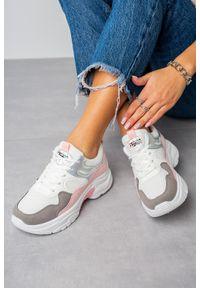 Casu - Wielokolorowe buty sportowe sneakersy sznurowane casu 20h3/p. Okazja: na co dzień. Kolor: wielokolorowy, szary, różowy. Materiał: skóra ekologiczna, materiał
