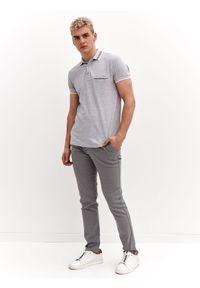 TOP SECRET - T-shirt polo strukturalny. Typ kołnierza: polo. Kolor: szary. Materiał: tkanina. Długość rękawa: krótki rękaw. Długość: krótkie. Sezon: wiosna. Styl: elegancki