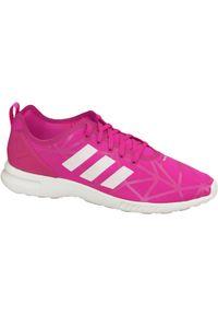Różowe buty sportowe Adidas Adidas ZX, z cholewką, w kolorowe wzory