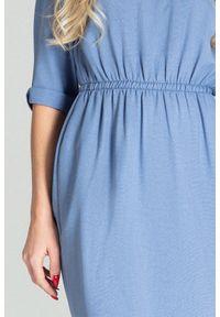 Niebieska sukienka Figl midi, asymetryczna, casualowa, na co dzień