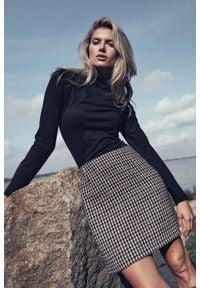 Figl - Trapezowa Mini Spódnica- w pepitkę. Materiał: wiskoza, nylon, poliester