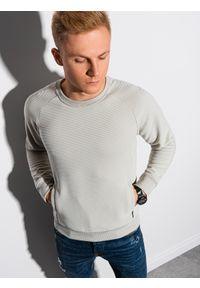 Ombre Clothing - Bluza męska bez kaptura B1156 - jasnoszara - XXL. Typ kołnierza: bez kaptura. Kolor: szary. Materiał: dresówka, dzianina, poliester, jeans, bawełna