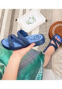 LANO - Klapki dziecięce basenowe Lano KL-2-1322 Granatowe. Okazja: na plażę. Kolor: niebieski. Materiał: guma