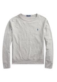 Ralph Lauren - RALPH LAUREN - Szara bluza z logo. Typ kołnierza: polo. Kolor: szary. Materiał: dresówka, jeans, bawełna. Wzór: haft. Styl: klasyczny