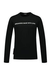 DSQUARED2 KIDS - Czarna bluzka z długim rękawem 4-16 lat. Kolor: czarny. Materiał: materiał, bawełna. Długość rękawa: długi rękaw. Długość: długie. Wzór: napisy, nadruk, aplikacja. Sezon: lato
