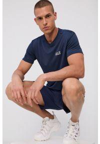 Jack Wolfskin - T-shirt. Okazja: na co dzień. Kolor: niebieski. Materiał: włókno, dzianina, skóra, materiał. Wzór: gładki. Styl: casual