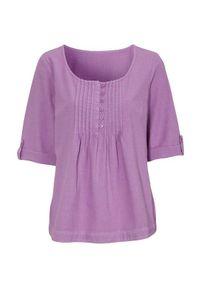 Fioletowa bluzka Cellbes krótka, elegancka, z długim rękawem