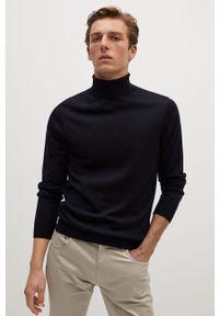 Niebieski sweter Mango Man z golfem, z długim rękawem, długi