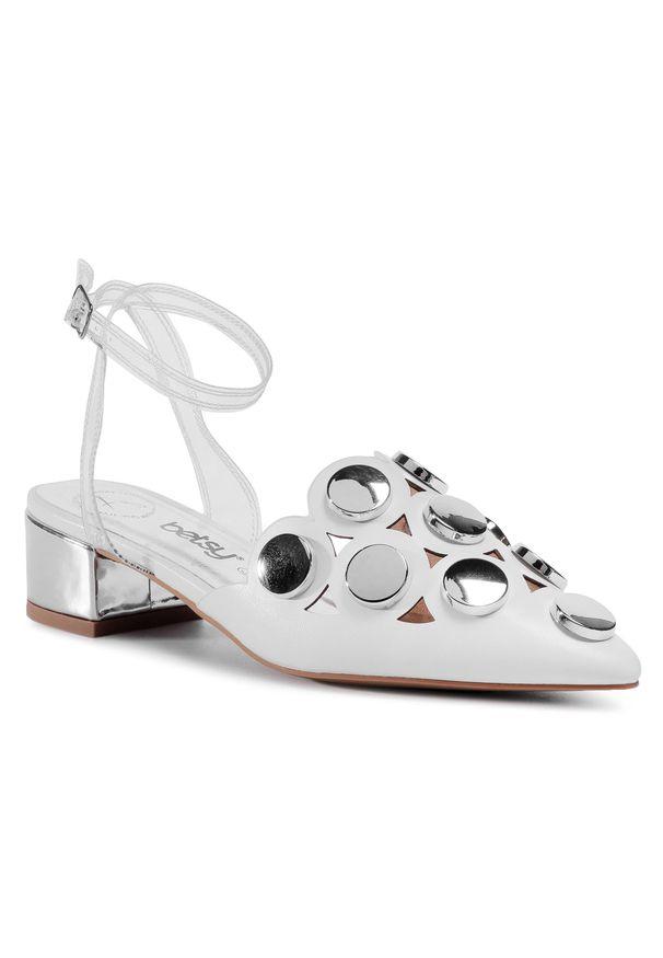 Białe sandały Betsy z aplikacjami, na co dzień, casualowe