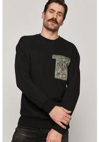 Czarna bluza nierozpinana medicine bez kaptura, casualowa, z nadrukiem