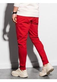 Ombre Clothing - Spodnie męskie dresowe joggery P952 - czerwone - XXL. Kolor: czerwony. Materiał: dresówka