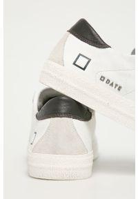 Białe sneakersy D.A.T.E. z cholewką, z okrągłym noskiem, na sznurówki