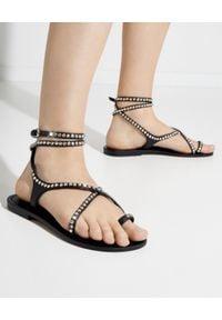 MYSTIQUE SHOES - Czarne sandały ze skóry z kryształami. Zapięcie: pasek. Kolor: czarny. Materiał: skóra. Wzór: paski, aplikacja
