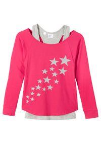 Shirt dziewczęcy z topem (2 części), bawełna organiczna bonprix różowo-jasnoszary melanż z nadrukiem. Kolor: różowy. Materiał: bawełna. Wzór: melanż, nadruk