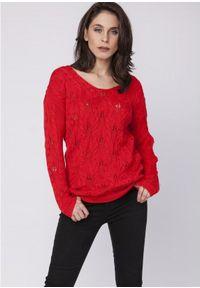 MKM - Kobiecy Ażurowy Sweter - Koralowy. Kolor: pomarańczowy. Materiał: bawełna, akryl. Wzór: ażurowy