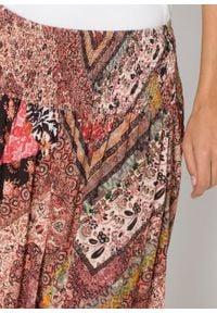 Spódnica kopertowa bonprix beżowy z nadrukiem. Kolor: beżowy. Długość: długie. Wzór: nadruk #2
