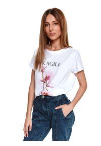 Biały t-shirt TOP SECRET krótki, z krótkim rękawem, klasyczny, z nadrukiem