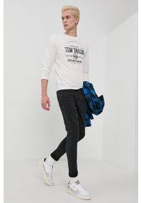 Tom Tailor - Longsleeve bawełniany. Okazja: na co dzień. Kolor: biały. Materiał: bawełna. Długość rękawa: długi rękaw. Wzór: nadruk. Styl: casual
