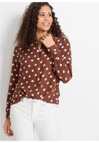 Bluzka w groszki bonprix brązowo-biały w groszki. Kolor: brązowy. Wzór: grochy
