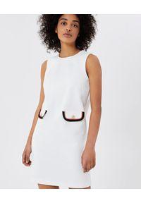 Liu Jo - LIU JO - Biała mini sukienka z kieszeniami. Kolor: biały. Materiał: tkanina. Typ sukienki: proste. Styl: klasyczny, elegancki. Długość: mini