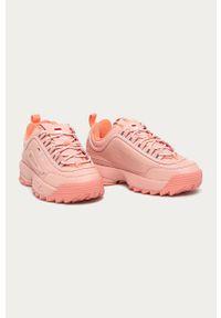 Różowe buty sportowe Fila z cholewką, na sznurówki