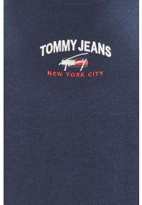 Niebieski t-shirt Tommy Jeans z aplikacjami, na co dzień, casualowy