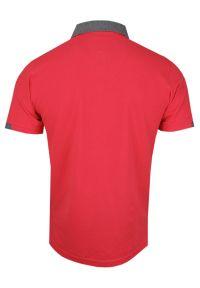 Różowy t-shirt Ranir krótki, elegancki, polo, z krótkim rękawem