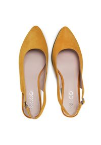 Żółte sandały ecco na średnim obcasie, casualowe, na co dzień, na obcasie