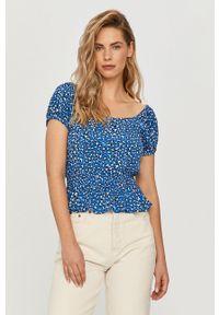 Niebieska bluzka Tommy Jeans na co dzień, z dekoltem karo, casualowa, krótka