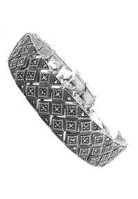 Braccatta - GAVIA Srebrna bransoletka z markazytami szeroka ciężka. Materiał: srebrne. Kolor: srebrny. Wzór: geometria. Kamień szlachetny: markazyt