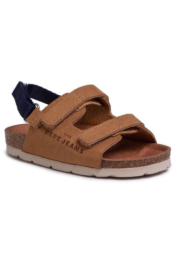Brązowe sandały Pepe Jeans na lato, klasyczne