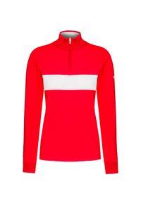 Czerwony sweter Descente retro, z golfem