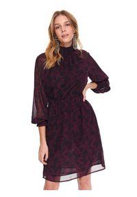 Fioletowa sukienka TOP SECRET ze stójką, casualowa, mini