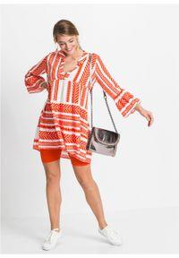 Krótka sukienka letnia bonprix głęboki pomarańczowy - biały wzorzysty. Typ kołnierza: dekolt w serek. Kolor: pomarańczowy. Sezon: lato. Styl: elegancki. Długość: mini
