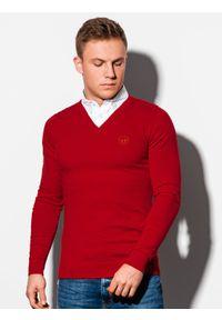 Czerwony sweter Ombre Clothing klasyczny, z dekoltem w serek