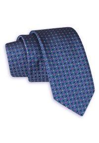 Niebieski krawat Angelo di Monti elegancki, w kolorowe wzory