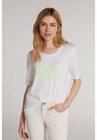 Biały t-shirt z napisami, krótki, z krótkim rękawem