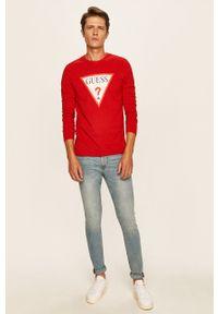 Czerwona koszulka z długim rękawem Guess Jeans z okrągłym kołnierzem, z nadrukiem