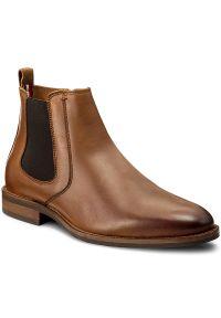 Brązowe buty wizytowe TOMMY HILFIGER klasyczne, z cholewką