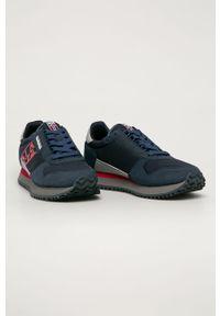 Niebieskie sneakersy Napapijri z cholewką, na sznurówki, z okrągłym noskiem