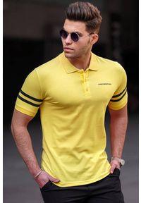 Żółty t-shirt IVET casualowy, polo, na co dzień