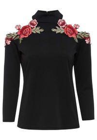 Czarna bluzka bonprix z golfem, w kwiaty