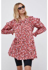 Vero Moda - Sukienka bawełniana. Kolor: różowy. Materiał: bawełna. Długość rękawa: długi rękaw. Typ sukienki: rozkloszowane