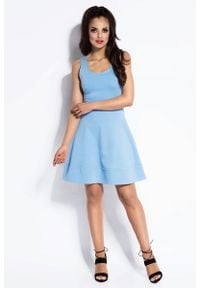 Dursi - Błękitna Sukienka Rozkloszowana Mini z Odkrytymi Plecami. Kolor: niebieski. Materiał: elastan, bawełna. Długość: mini